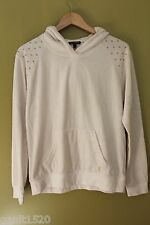 NWT Juicy Couture White Angel Velour Nailhead Hoody Gold Signature Jacket M $128