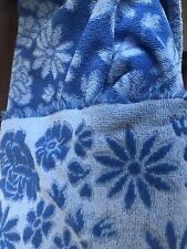 Vintage Fashion Manor Blue Daisy Rose Flower Power Fringe Bath Towel MCM 60 70s