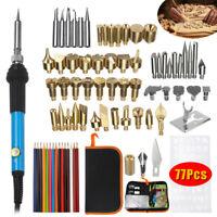 77pcs 60W Electric Soldering Iron Set Wood Burning Pen Tool Pyrography Craft Kit