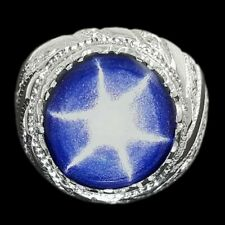 BEAUTIFUL SAPPHIRE STAR AND ZIRCON HANDMADE Solid 925 Sterling Silver Men Ring