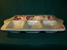 """Pfaltzgraff JamBerry Beautiful Sculpted Handled 4 Part Relish Serving Tray 15"""""""