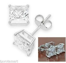 Man Mens 25 Micro Cubic Zirconia Sterling Silver Cube Square Stud Earrings 12mm