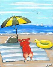 Aceo Print Of Painting Pembroke Welsh Corgi Ryta Seascape Beach Ocean Nautical