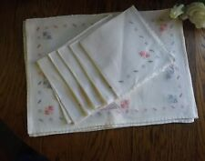 Beautiful Vintage Embroidered Linen Napkins & Placemates For 5 Laundered Clean