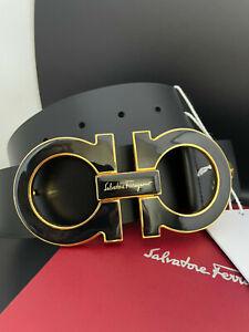 Salvatore Ferragamo Black Leather Men's Belt Gancini XL Oversized Buckle
