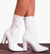 WHITE STRETCH SOCK ANKLE HIGH BLOCK HEELED HEELS ANKLE BOOTS SHOES SIZE 3-8