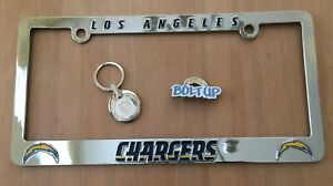 LOS ANGELES CHARGERS METAL CHROME LICENSE PLATE FRAME & KEY CHAIN & STH PIN LOT