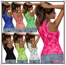 Sexy Women's Lace Summer Top Ladies Casual Floral Vest Top One Size 6,8,10,12 UK