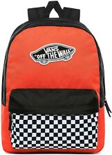 """VANS REALM Girls/Women's Red/Checkered 16.5"""" 22L School or Travel Backpack NWT"""