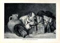 Trinking cider XL 1904 art print by Edmund Haburger pub apple wine drunk chat