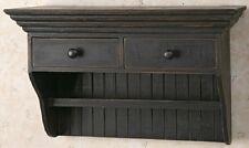 Distressed Black Wood Wall Shelf W/ Drawers And Towel Bar 18 W X 12 H X 8 D