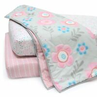 Lambs & Ivy Layla Collection 3-Piece Starter Crib Bedding Set - Blue, Pink, Gray