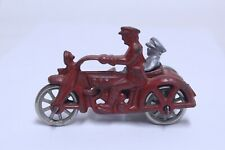 NICE ANTIQUE CAST IRON HUBLEY COP MOTORCYCLE IN RED 4""