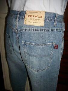 Pantalon Jeans léger bleu délavé RWD DENIM W32 42FR braguette boutons 15ET32