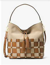 Michael Kors Vivian Woven Large tote Shoulder Bag Suede Beige Shell Acorn NWT