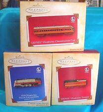 3-Hallmark Ornaments 2004-Hiawatha Steam Locomotive-Tender-Observation Car