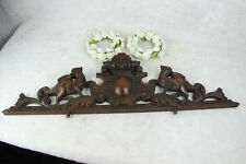 Antique large French pediment fronton wood carved gothic phenix dragon birds