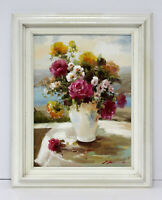 Roses Floral Bouquet Still Life 12 x 16 Oil Painting on Canvas w/Custom Frame