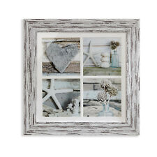 Beachcomber Nautical Shabby Chic Shells Heart Framed Print with Distressed Frame