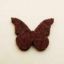 24 papillons en abaca marron, 4 cm. Décoration de mariage