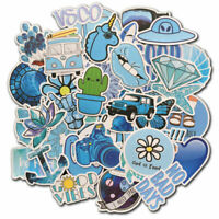 50 Blue Vsco Sticker Bomb Skateboard Luggage Laptop Fridge Vinyl Decals Pack Lot