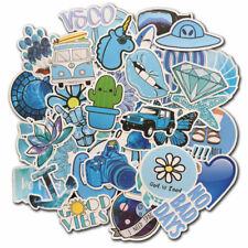 50 Blue Vsco Sticker Bomb Skateboard Luggage Laptop Fridge Vinyl Decals Pack Lot