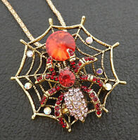 Betsey Johnson Red Pink Crystal Spider Web Insect Pendant Long Necklace/Brooch