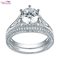 Wedding Engagement Ring Set For Women 2ct 925 Sterling Silver Round AAA Cz 5-10