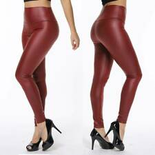 Sexy Womens Faux Leather Leggings High Waisted Yoga Pants Black Stretch Trousers