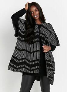 Evans Womens Grey Monochrome Print Cape Jumper Cardigan Coatigan Top Outwear