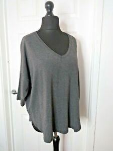The White Company Ladies Top T Shirt Crew Neck Size Medium Grey 3/4 Sleeve Modal
