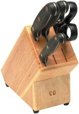 T&G Woodwares 6 Slot Knife block in Hevea Wooden for Scissors & 5 knives NEW