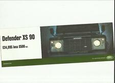 LAND ROVER DEFENDER XS 90 PRICE LIST/FEATURES  SALES BROCHURE/SHEET 2003