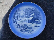 Currier & Ives A Home in the Wilderness Blue White Decorative Plate