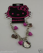 Hello Kitty Pink dangle bracelet hearts leopard bow Sanrio
