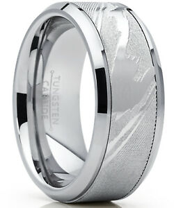 Tungsten Carbide Wedding Band Ring, Inlaid Simulated Damascus Pattern