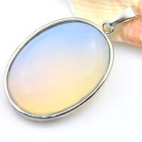 Huge Oval Shaped Rainbow Fire Moonstone Gemstone Silver Woman Necklace Pendants