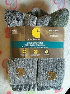 "4 Pairs CARHARTT ""COLD WEATHER"" MEN'S/WOMEN'S WOOL BLEND CREW SOCKS -Large 6-12"