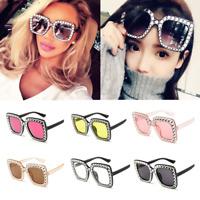 Oversized Square Frame Bling Rhinestone Sunglasses Women Fashion Shades 2019 NEW