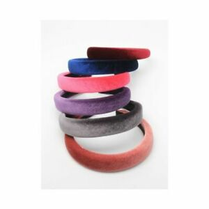 2.5cm Wide Headband Thick Padded Coloured Velvet Wide Alice Band Hair Band 06 UK
