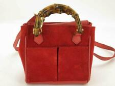 Gucci Red Suede 2way Bamboo Shopper Tote 870304