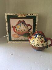 Debbie Mumm Mini Tea Pot Christmas Basket Sakura Onedia Collectible