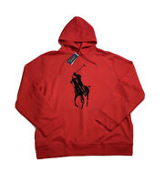 Polo Ralph Lauren Big Pony Double Knit Fleece Hoodie Sweatshirt Sweater Red XXL