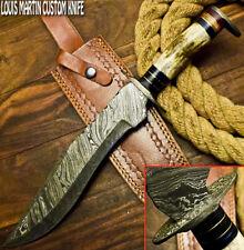 LOUIS MARTIN RARE CUSTOM HANDMADE DAMASCUS ART HUNTING BOWIE KNIFE STAG ANTLER