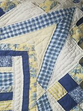 """Vintage Arch Quilt Patchwork 77"""" X 82"""" By Arch Quilts NY White Yellow Blue"""