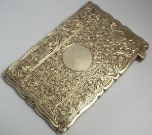 BEAUTIFUL DECORATIVE ENGLISH ANTIQUE VICTORIAN 1888 STERLING SILVER CARD CASE