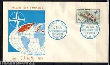 1959**ENVELOPPE,FDC 1°JOUR**INAUGURATION PALAIS DE L' OTAN**TIMBRE Y/T 1228