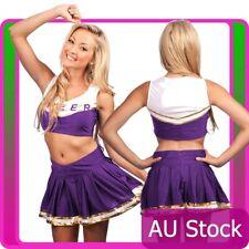 Cheerleader Uniform School Girl Costume  Fancy Dress Costume Purple