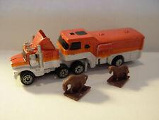 Vintage Galoob Lgti Micro Machines Semi Truck W/Horse Trailer & 2 Micro Horses