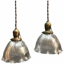 Pair of Scalloped Prismatic Holophane Glass Bell Pendant Lights